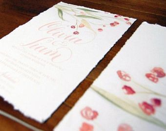 Rose Watercolor Invitation w/ custom calligraphy and deckle edge