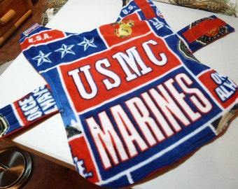 Small - US Marines Military Fleece Dog Coat ( Small)