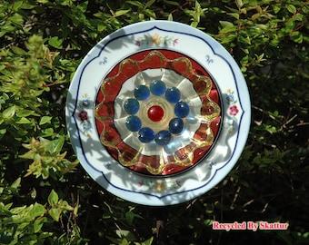 Glass Yard Art Country Bloom Garden Flower Plate Sculpture for Outdoor Decor