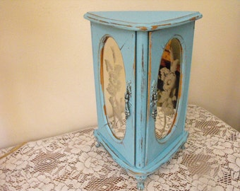 Vintage Shabby Chic Jewelry Box - Ocean Blue Painted - Shabby Chic Box Footed - French Country jewelry box, Jewelry Armoire
