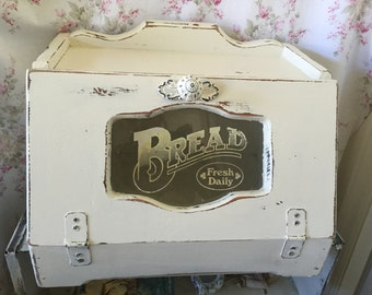 Vintage retro Breadbox Wood Upcycled/Painted White/Distressed/Extra Large Bread box/Kitsch/Bread Bin/French Farmhouse/Shabby Chic Box/glass