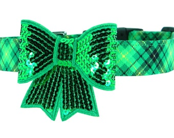 St. Patrick's Day Bow Dog Collar, Kelly Green Plaid Dog Collar Bow: Pat's Plaid with Sequin Bow