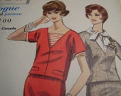 Vintage 1960's Vogue 5219 Two Piece Dress, Blouse and Dickey Sewing Pattern, Size 12. Bust 32