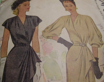 Vintage 1940's McCall 6580 Dress Side Drape Sewing Pattern, Size 20, Bust 38