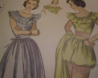 Vintage 1940's Simplicity 2445 Dress and Three Piece Play Suit Sewing Pattern, Size 14, Bust 32