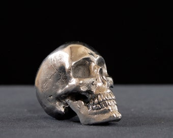 Stainless Steel Skull, skull, cast steel, cast metal, metal, stainless, keychain, jewelry, necklace, polished, hand cast,