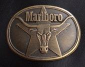 Marlboro Solid Brass Belt Buckle, Vintage, Bull, phillip morris NC Tobacco Co. 1987 rodeo