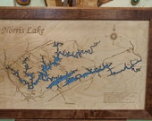 Wood Laser Cut Map of Norris Lake, TN Topographical Engraved Map