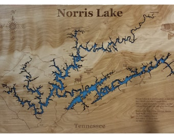 Lake Norris Tennessee wooden laser engraved lake map wall hanging