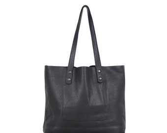Large leather bag, black tote bag, large leather tote