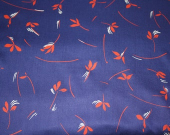 Vintage rayon fabric – blue with red/white pattern. 4 yards/360cm long x 45 inches/114cm wide