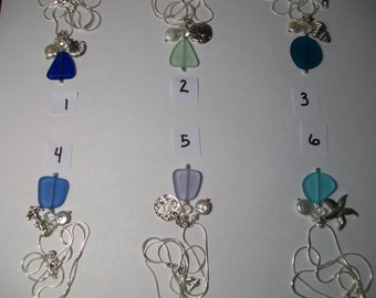 Three charm sea glass necklace, free shipping within US