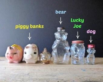 Vintage Piggy Bank, Vintage Bank Antiques, Savings Bank, Savings Jar, Vintage Glass Piggy Bank, Bear, Lucky Joe Bank, Chalkware Bank