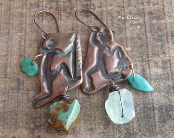 Tribal asymmetric earrings-rustic style-handcrafted copper pendant-dancer-hunter-copper earrings-turquoise-red-green