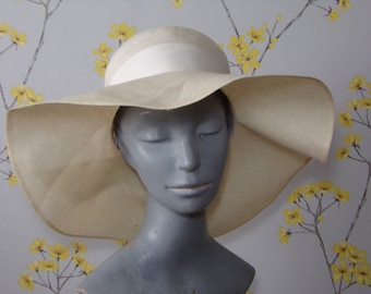 Vintage 70s Summer Hat Ivory Fine Woven Straw Hat 1970s Floppy Hat Wide Band with Flowers Bermona Boutique