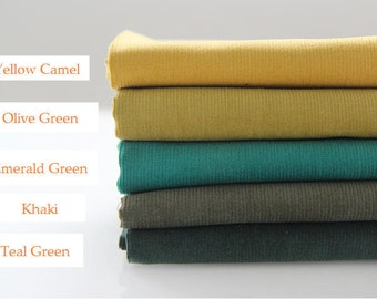Fine Wale Cotton Corduroy - Yellow Camel, Olive Green, Emerald Green, Khaki or Teal Green - By the Yard 82762