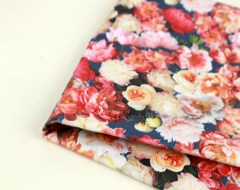 Laminated Cotton Fabric - Real Flower in Navy - By the Yard 86303
