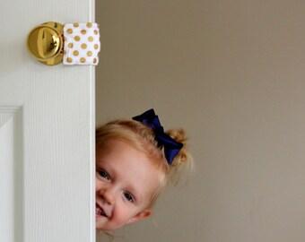 Goldie Dot Door Latch Muffler, baby nursery, door stopper, home decor, baby shower gift, quiet nursery door, kids PATENTED LATCHY CATCHY