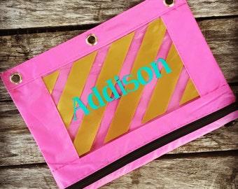 Personalized Pencil Pouch, Monogram Pencil Bag, Zipper Pouch, Birthday Party Favors, Personalized Pencil Case, Pencil Bag, School Bag