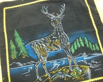"Vintage 60s Deer Pillowcase Black Hand Painted Canadian Souvenir Pillowcase with Fringe 17"" Square"