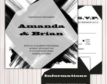 Wedding Invitation Printable Template - DIY Printable PDF Instant Download - editable text - Modern Black and white - geometric 06T