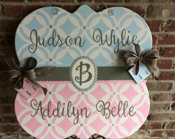 TWINS Baby Announcement Door Hanger