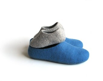 Felt clog boot Felted man shoe Dad and baby wool felt slippers House shoes for father and kid Wool shoes Mens shoes Two pair of slippers