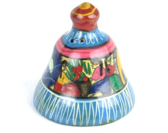 Terra Cotta Mexican Bell - Village People - Sun - Homes - Terracotta Pottery - Hand Painted - Vintage Cultural - Global Home Decor