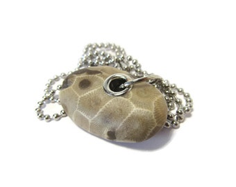 Prime Petoskey Stone/Stainless Steel Grommets/Lake Michigan/30 Inch Stainless Steel Unisex Necklace/Natural Petoskey Stone/Large Fossil