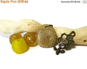 SALE Sweet Honeycomb/Lake Michigan Fossil Stone Bead/Bee Charm/Bronze Honeycomb Charm/Tiny Dangly Bee Charm/Yellow and Amber Glass Beads/Sup