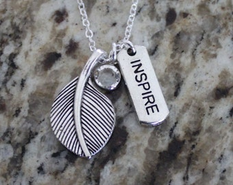 Antique Tibetan Silver charm necklace,Swarovski birthstone, Inspire, leaf, Mentor Gift with card