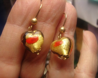 14Kt Gold Murano Glass Heart Earrings-5 grms-hallmarked- dangle 25mm-heart 14X12mm 1617