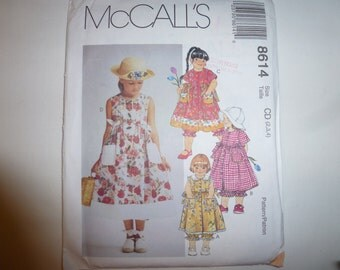 Vintage McCall's Pattern 8614 for Children's and Girl's Dress and Pantaloons Sizes 2-3-4 available