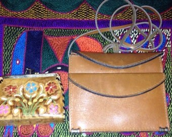 Tooled leather change purse and small leather purse