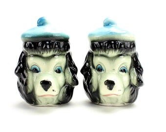 Vintage Black Poodle Salt Pepper Shakers, Poodle Shakers, Poodle Salt Pepper, Poodle Heads, Poodles with Hats, French Poodles Berets Epsteam