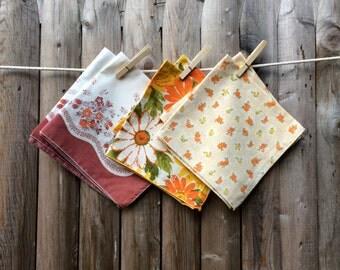 Mix Matched Set of Six Vintage Floral Cloth Napkins