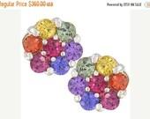 Valentines Day Sale Multicolor Rainbow Sapphire Earrings Flower Cluster 14K White Gold : sku 1617-14k-wg