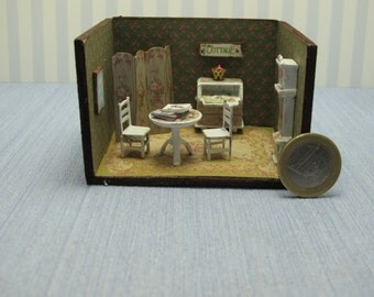 Dollhouse miniature  1/4 1:48 QS Quarter Inch Scale Furniture OOAK diorama 1,48th quarter inch scale study shabby chic handmade