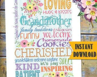 GrandMother/Nana Printable / Instant Download SUBWAY Art / DESIGN miniPOSTERS / DIY Printable / #MothersDayPrintable #Grandmother #Nana