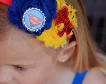 supergirl inspired headband, superman inspired headband, superhero headband