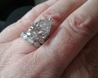Vintage Engagement Ring - Engagement Rings - Huge Pear Cut Engagement Ring - Vintage CZ Engagement Ring