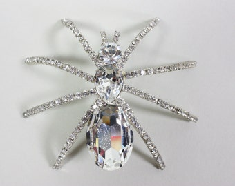 1960's Extra Large Spider Rhinestone Brooch