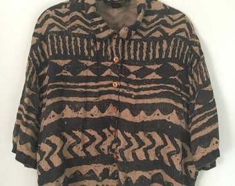 Eddie Bauer // tribal print // over sized button top // size large