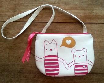 Girls shoulder bag - Kitty luvs Bear - fuchsia and gold - screen printed and handmade