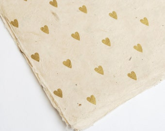 Gold Hearts on Hand made and Fair Trade Lokta Paper, Natural Giftwrap