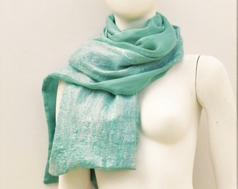 Sea Green Silk Nuno Felted Wrap