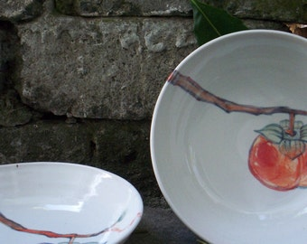 Porcelain bowl with image of persimmon. Wide porcelain bowl: pasta, dinner salad, variety of desert.