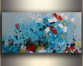 "Teal Oil Painting Abstract ORIGINAL Oil Painting Original Art Abstract Art Painting Textured Painting Colorful Abstract 30""x15"" by Tatjana"
