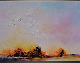 Landscape Oil Painting Original Art Palette Knife Art Painting Landscape painting Wall Art Autumn Ombre Sunset Oil Painting by Tatjana Ruzin