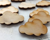 24 MINI CLOUDS - Natural Sustainable Wood Embellishments